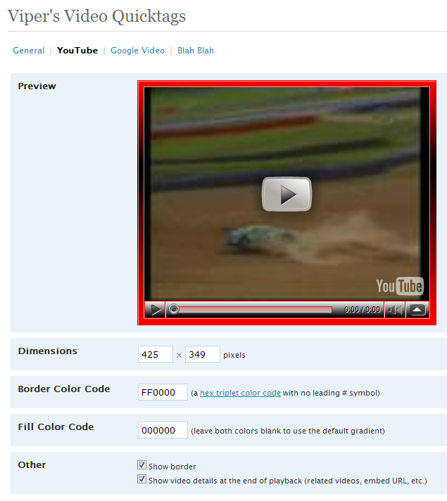 Viper's Video Quicktags v6 - YouTube Config Screen Preview